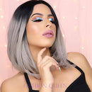 BLACK AND GRAY BOB WIG