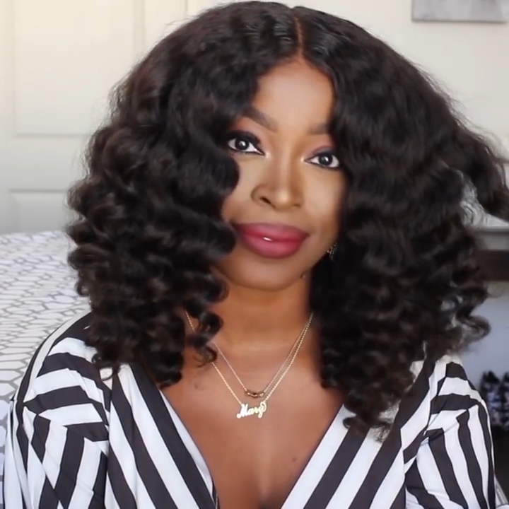LACE FRONT BLACK CURLY WAVE Wig  EXTRA THICK AS  VIDEO)
