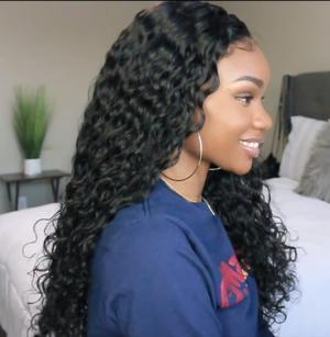 Full 360 Lace Frontal Deep Wave Frontal Wig Plucked Curly Lace Front Wigs