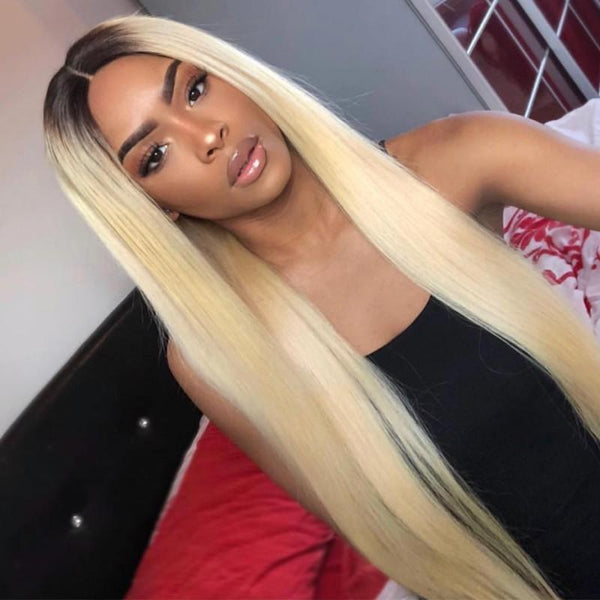 Dark Roots Ombre Blonde Color Silk Straight Hair Good Quality Brazilian Hair Lace Front Wigs