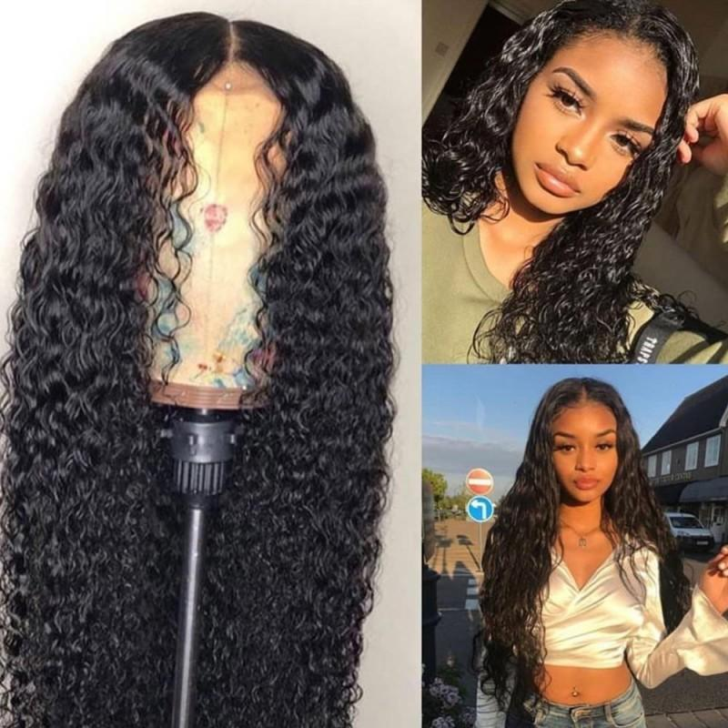Water Wave Heavy Density Natural Color Brazilian Hair Lace Wigs