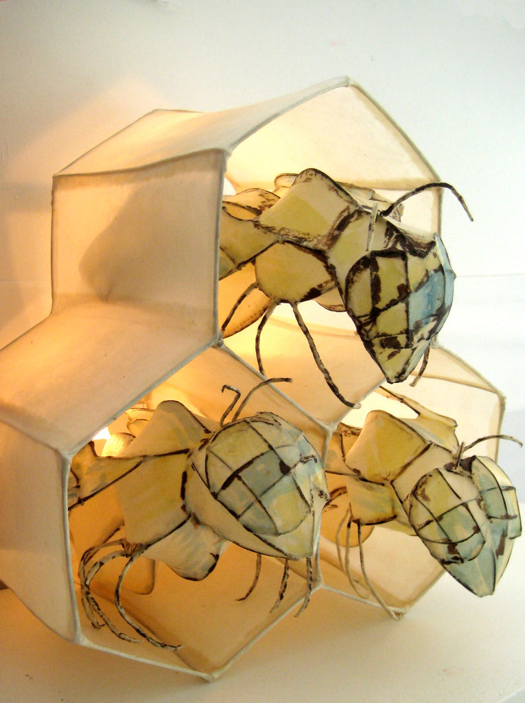 Bee Hive handmade paper light by HiiH Lights www.hiihlights.com