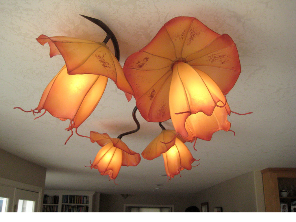 Hibiscus handmade paper chandelier by HiiH Lights www.hiihlights.com