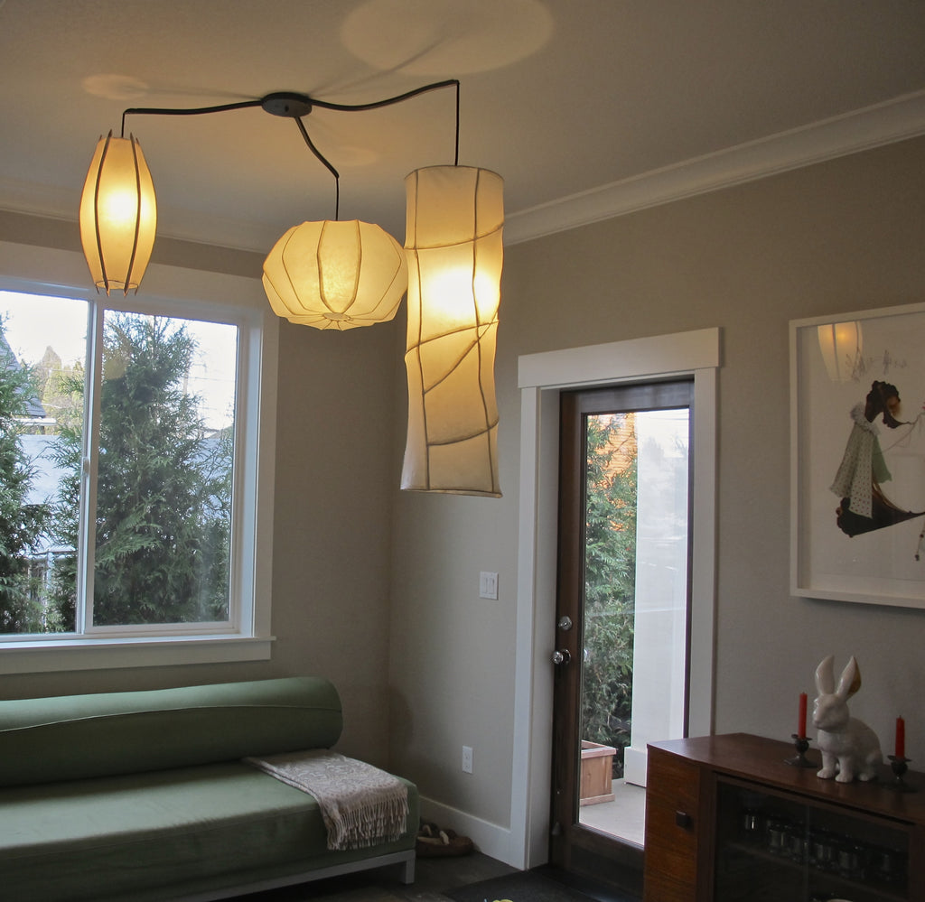 handmade paper pendant lights trio by HiiH Lights www.hiihlights.com