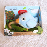 Organic Cotton Blue Bird Teething Toy, Pull and Play Jiggle, by Apple Park, Ages 6 mo.+