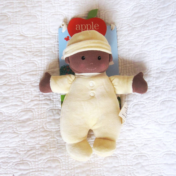 First Baby Doll in Cream Outfit, African American, Organic Cotton by Apple Park, Ages 3 mo.+