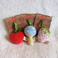 Strawberry Stroller Toy, Organic Cotton Velour, Pull to Wiggle by Apple Park, Ages 6 mo.+