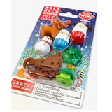 "Christmas Erasers Set, Finely Detailed Japanese ""Puzzles"", Ages 5+"