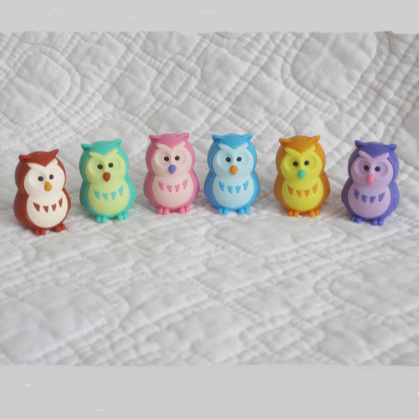 Glow Owls Japanese Eraser Puzzles, Set of Six, Ages 7+