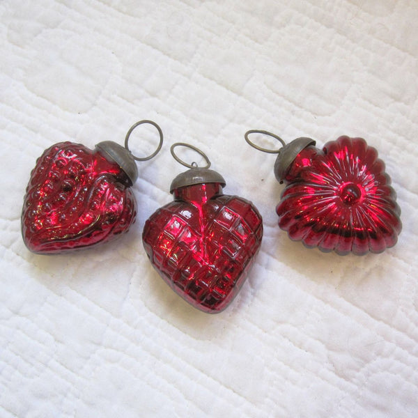 Hearts of Glass, Ruby Red Ornaments (or Necklaces?) Set of 3