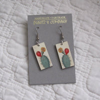 Cactus Vintage Botanical Print Dangle Earrings, Fair Trade