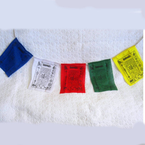 Auspicious Prayer Flags Hand Made by Tibetan Nuns Project, Cotton, Five Flags