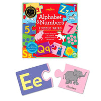 eeboo Alphabet & Numbers Puzzle Pairs, Pre-Reading Fun, Ages 3+