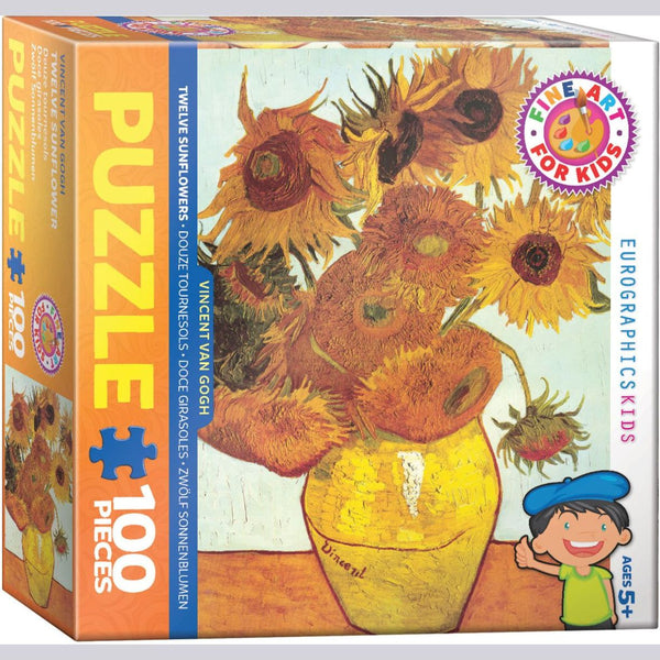 """Twelve Sunflowers"" by van Gogh Jigsaw Puzzle, 100 Pieces, Ages 5+"