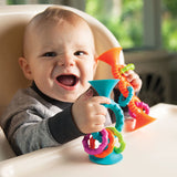 PipSqigz Loops Rattle, Teether with Suction Cup, Ages 6 mo.+