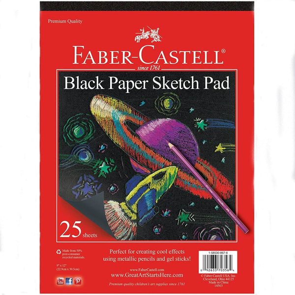 Faber Castell Black Paper Pad for Metalllic Pencils, Gel Sticks and Moonlight Gel Pens