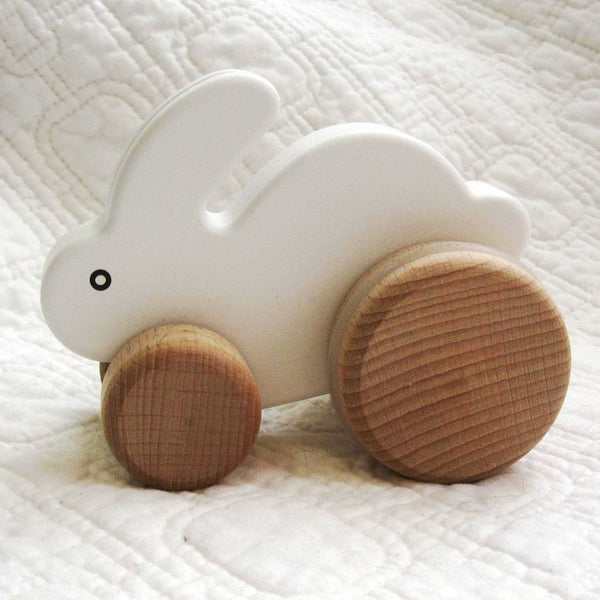 Little White Bunny Wooden Push Toy by BAJO, Ages 18 mo.+