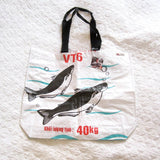 White Graphic Tote Made From Recycled Feed Bags, Fair Trade and Fun!
