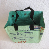 Fresh Kiwi Green Tote Made from Recycled Commercial Fish Food Bags, Fair Trade and Fun!