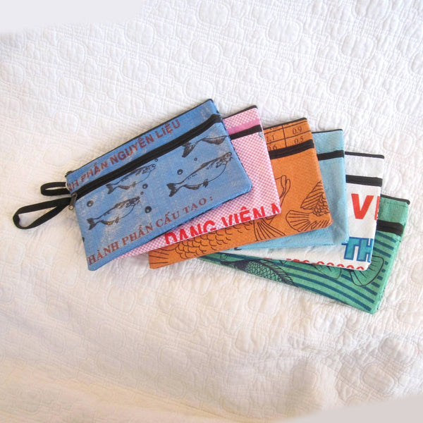 Double Zip Recycled Feed Bag Wristlet Style Pouch, Fair Trade by Malia Designs