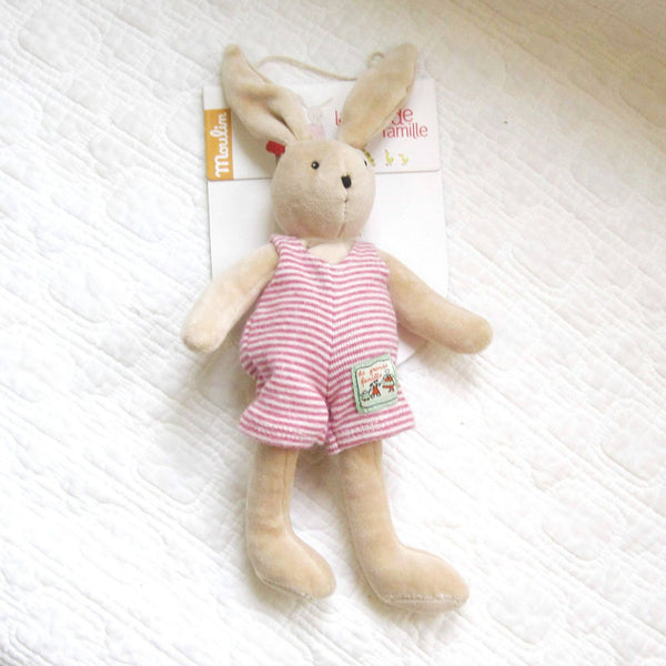 Sylvain Velvet Bunny, Sweet Toy by French Brand Moulin Roty, Ages 18 mo+