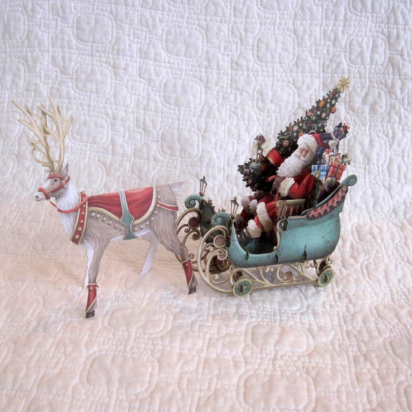 Christmas Card 3D Santa and Sleigh