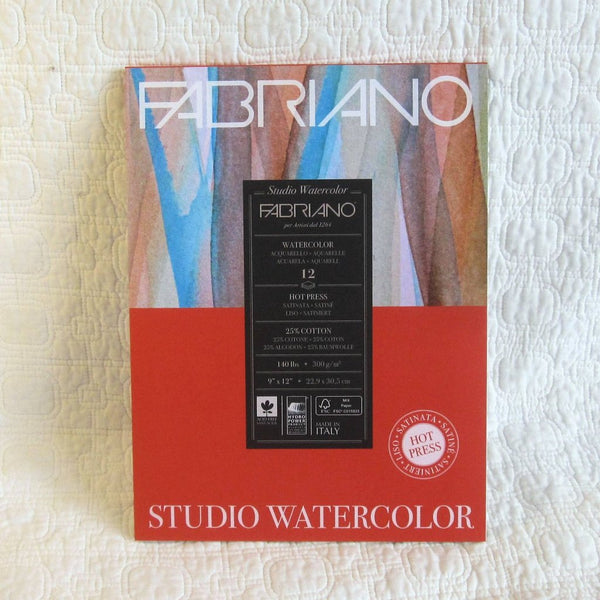 Fabriano Watercolor Paper, 9 x 12 inches, 12 sheets, Eco Friendly, Italian Made