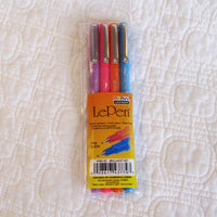 LePen Premium Felt Tip Fineline Pens, Set of Four Brilliant Colors, Made in Japan