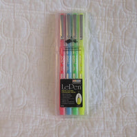LePen Premium Felt Tip Fineline Pens, Set of Four Neon Colors, Made in Japan