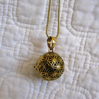 """Flower of Life"" Scent Diffuser Necklace for Essential Oils, Fair Trade"
