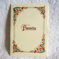 "Luxury Italian Stationery Portfolio, 10 Sheets 10 Envelopes, ""Florentia"" Pattern"