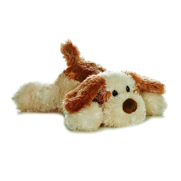 """Scruff"" the Brown and Tan Stuffed Dog, Mini Flopsie by Aurora, Ages 3+"