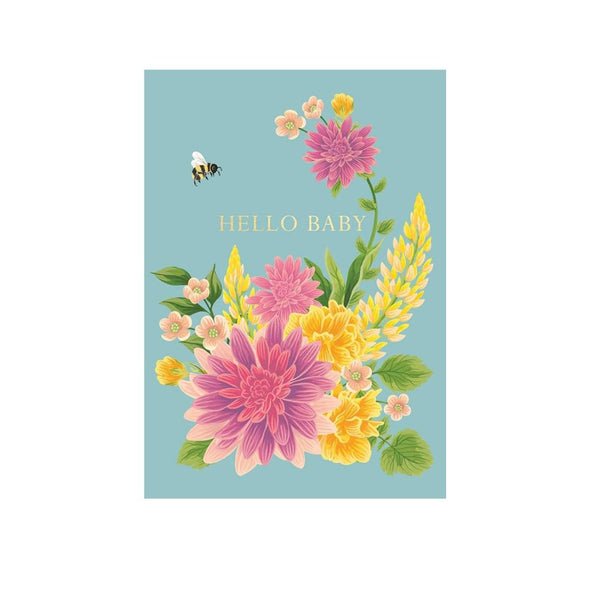 """Bees and Flowers"" New Baby Greeting Card"