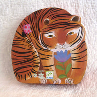 Tiger's Walk Puzzle in Silhouette Box by Djeco, French Style, Ages 3+, 24 piece