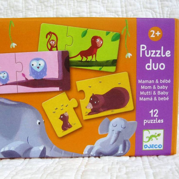 Mom and Baby First Puzzle by Djeco, Premium French Brand,  Ages 2+