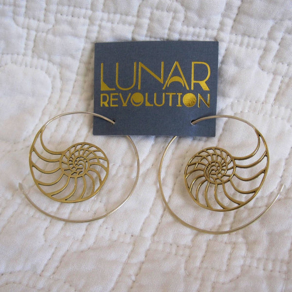Nautilus Spiral Hoop Earring, Fair Trade, Polished Brass