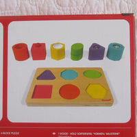 Shapes and Sounds Wooden Block Puzzle by Janod, Ages 12 mo.+