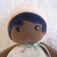 "Small Soft African American Doll ""Manon"" by French Toymaker Kaloo, Ages 9 mo.+"