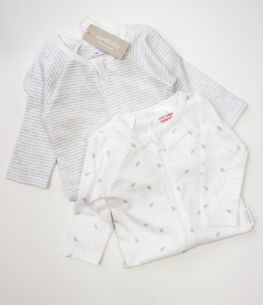 Purebaby organic cotton babygrow set