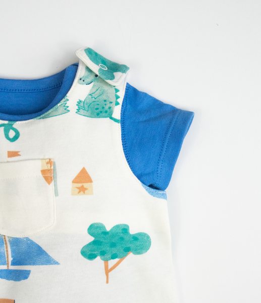 Dragon print dungarees with blue T