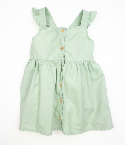 Green button front dress