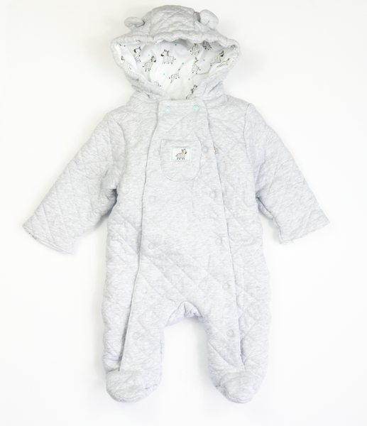 Grey quilted pramsuit