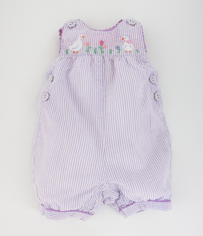 Seersucker purple stripe romper