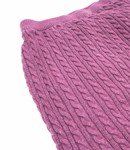 Plum cable knit trousers