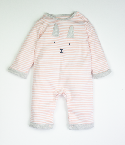 Striped bunny baby grow