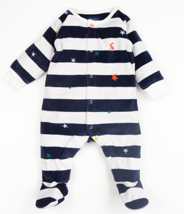 Velour stripe and star sleepsuit