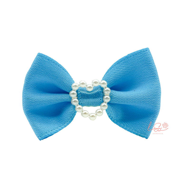 Blue Hair Bow Pearls