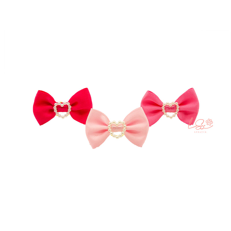 Pack 3 Hair Bows Pearls Pink