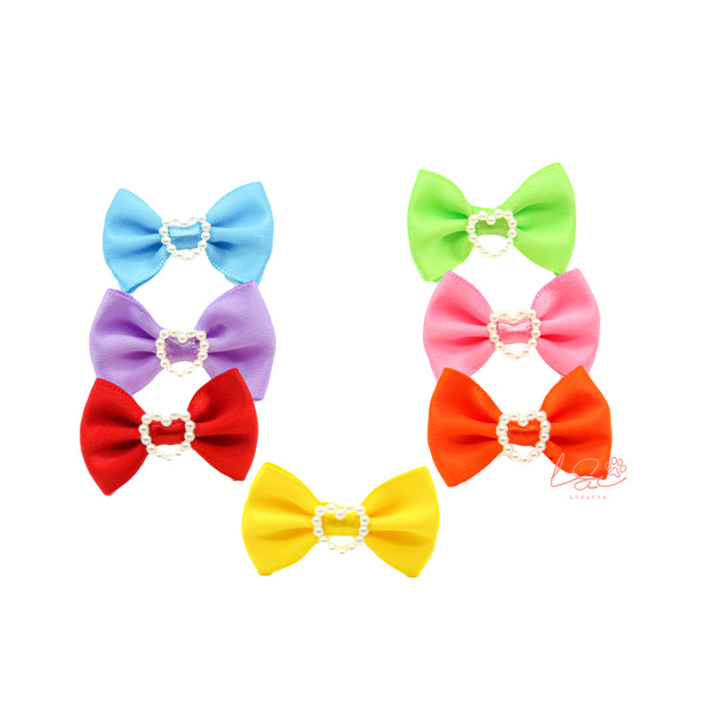 Pack 7 Hair Bows Pearls Multicolor