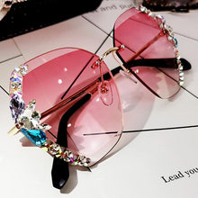 Load image into Gallery viewer, 2020 Vintage Fashion Rimless Crystal Sunglasses 1688 Pink